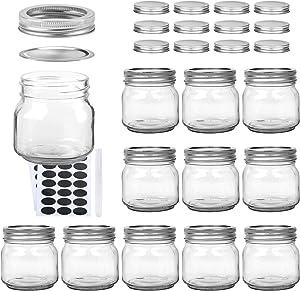 Woaiwo-q 8 oz Mason Jars, 12 Pack Glass Jars with Regular Lids (Silver), Ideal for Jam,Honey,Wedding Favors,Shower Favors,Baby Foods(24 Lids)