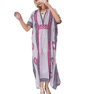 Ailunsnika V Neck Geometric Print Bikini Bathing Suit Cover Ups Swimwear Women Plus Size Turkish Caftan Dress Purple at Women's Clothing store