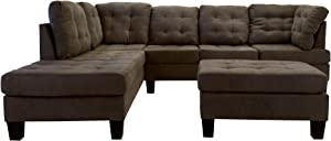Casa Andrea Milano LLC 3 Piece Modern Tufted Micro Suede L Shaped Sectional Sofa Couch with Reversible Chaise & Ottoman, Dark Tan