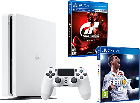 PS4 Slim 500Gb Blanca Playstation 4 Consola - Pack 2 Juegos - FIFA 18 + Gran Turismo Sport