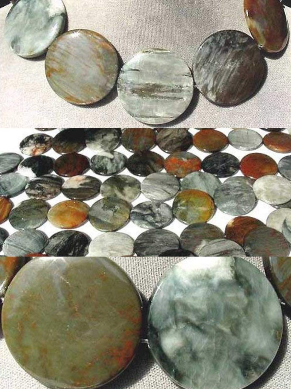 Cat's Eye Chrysoberyl Quartz Flat 35x5mm Disc Bead Strand for Jewelry Making 105615 by Generic