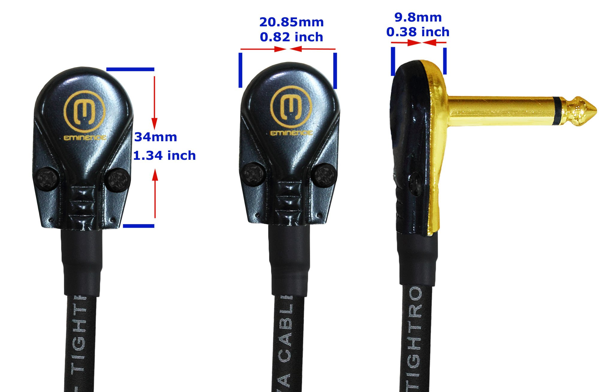6 Units - Lava Tightrope (Black) - 6 Inch - Guitar Bass Effects Instrument, Patch Cable with Premium Gold Plated ¼ Inch (6.35mm) Low-Profile, Right Angled Pancake type TS Connectors by WORLDS BEST CABLES (Image #4)