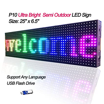 Ultra Bright RGB Led Display Board,P10 SMD Full Color Indoor Semi Outdoor  Led Message Sign 25 x 6 5 inch LED Text Display Screen Support USB