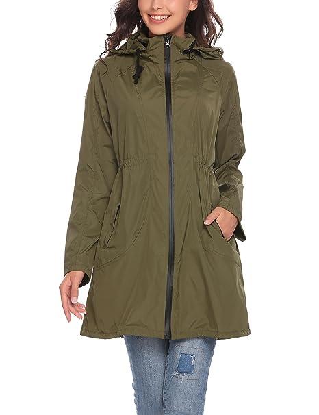 eccebfeea95 Zeagoo Women Waterproof Lightweight Rain Jacket Outdoor Hooded Raincoat  Army Green/S