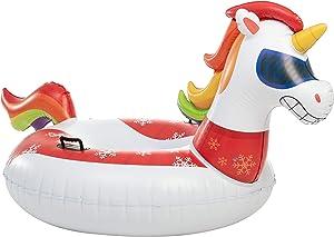 "JOYIN 47"" Inflatable Unicorn Snow Tube, Heavy-Duty Snow Tube for Sledding, Great Inflatable Snow Tubes for Winter Fun and Family Activities"