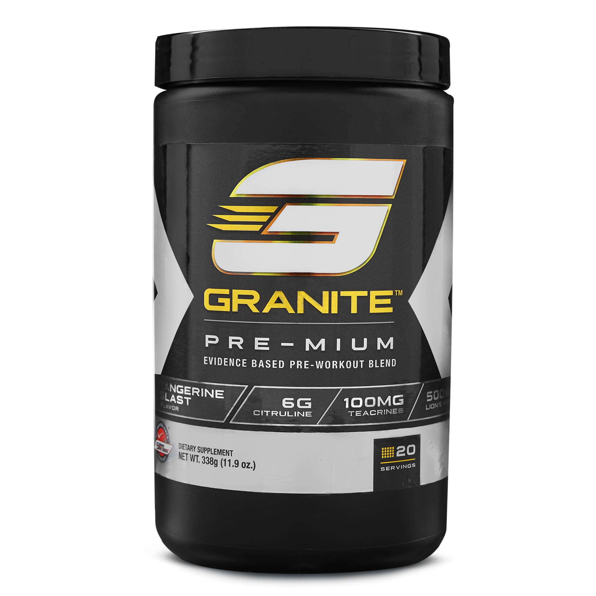 Pre-Workout Powder by Granite Supplements | 20 Servings of Pre-Mium Watermelon Burst to Maximize Strength, Energy, and Mental Endurance | Includes Performance, Pump, and Cognitive Blends