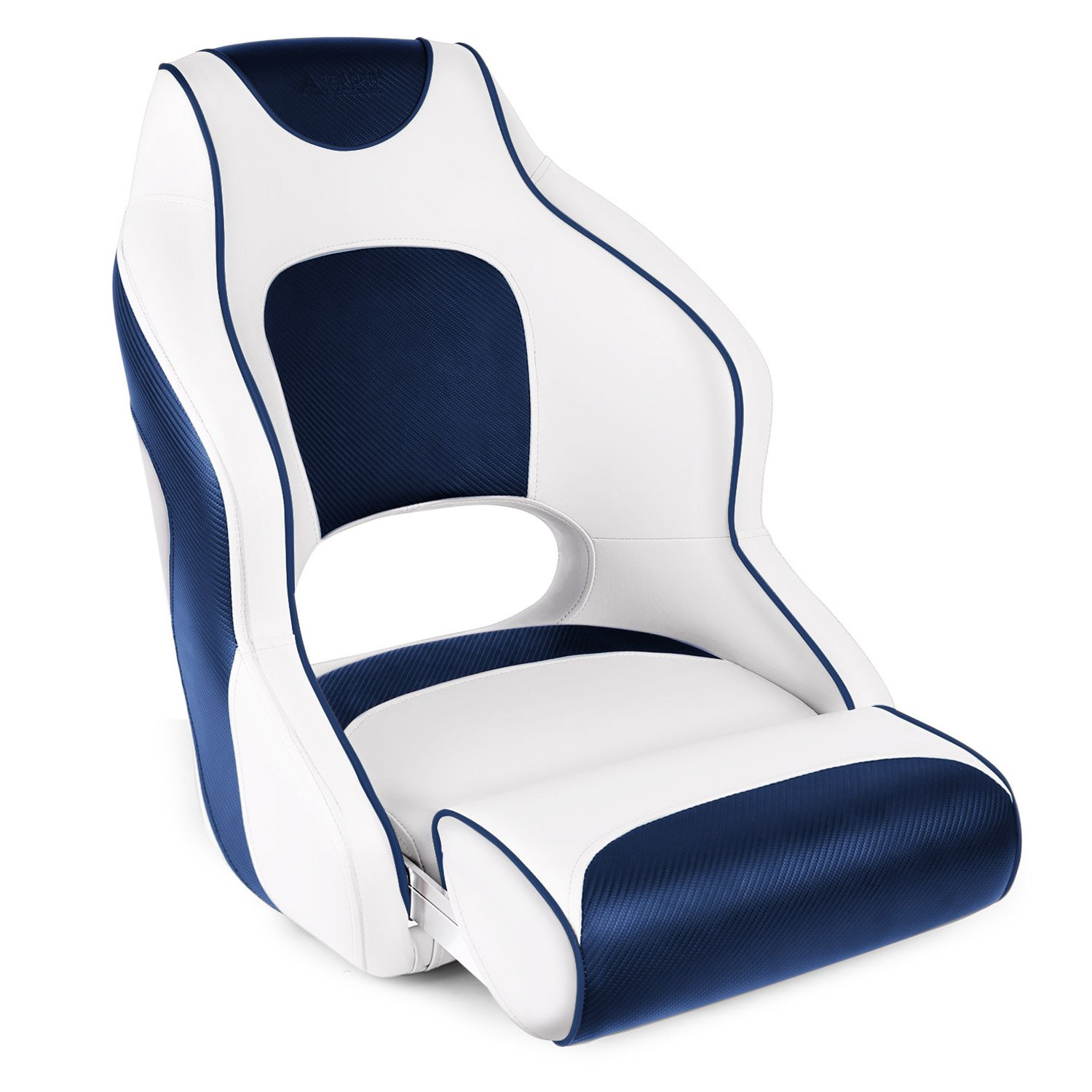 Leader Accessories Two Tone Captain's Bucket Seat Boat Seat Premium Sports Flip Up Boat Seat(White/Blue,Blue Piping)