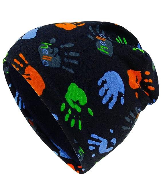 Fiebig Bonnet Garçon Jersey Chapeau Entre Les Saisons Calotte Cap Mi-Saison  Coton Avec Mains Pour Enfants (FI-71437-W17-JU1) incl. 62c2f3c139f