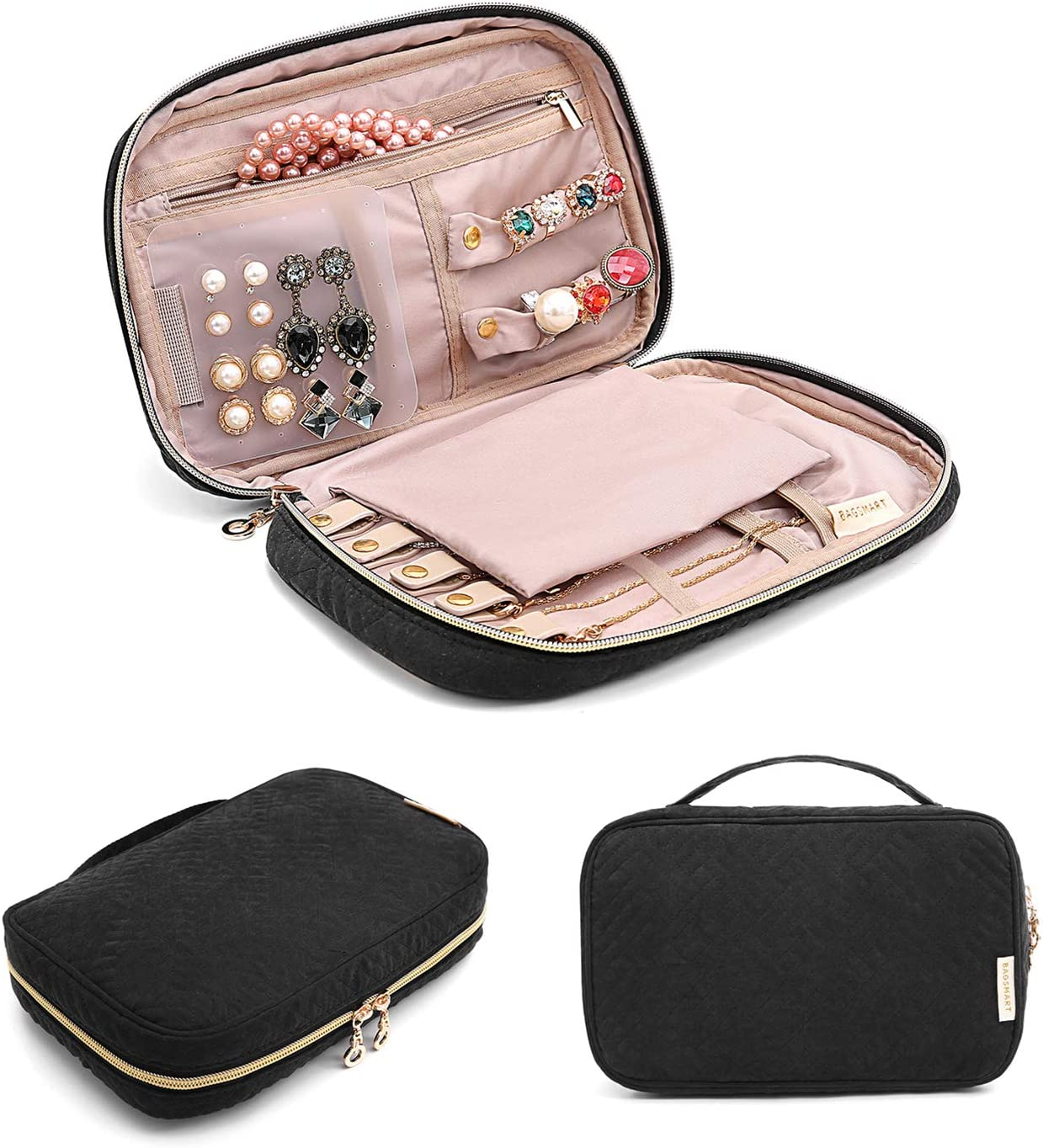 Amazon Com Bagsmart Jewelry Organizer Bag Travel Jewelry Storage Cases For Necklace Earrings Rings Bracelet Black Home Kitchen