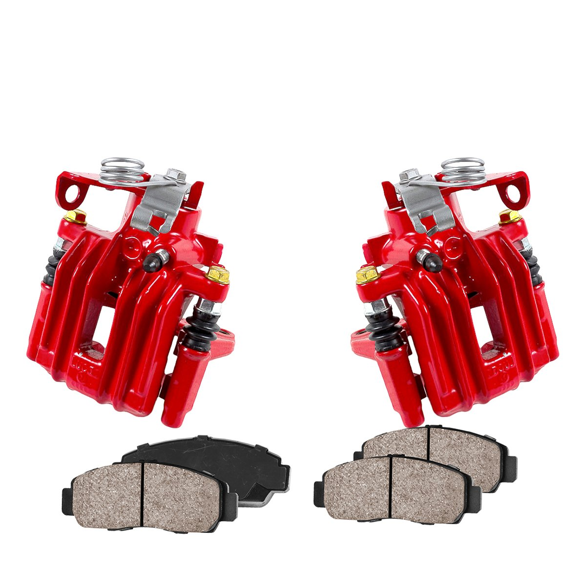 CCK02407 Quiet Low Dust Ceramic Brake Pads REAR Performance Red Powder Coated Calipers + 4 2
