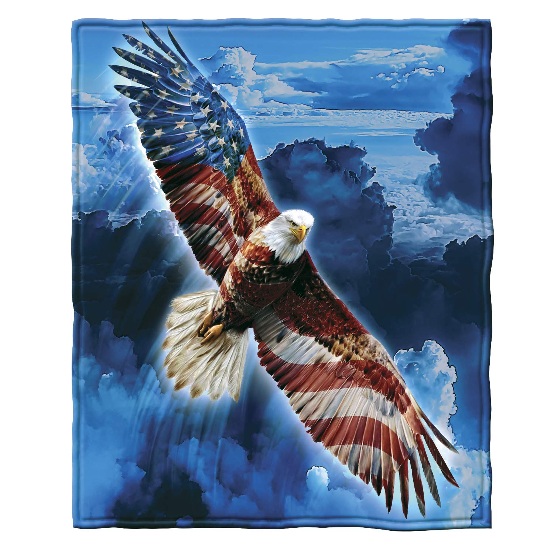 "Dawhud Direct Super Soft Full/Queen Size Fleece Blanket, 75"" x 90"" (American Eagle)"