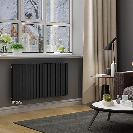 ELEGANT Design Paneelheizkörper Röhren 600x1180mm Anthrazit Doppellagig  Badezimmer/Wohnraum Horizontal Heizkörper Seitenanschluss Badheizkörper ...