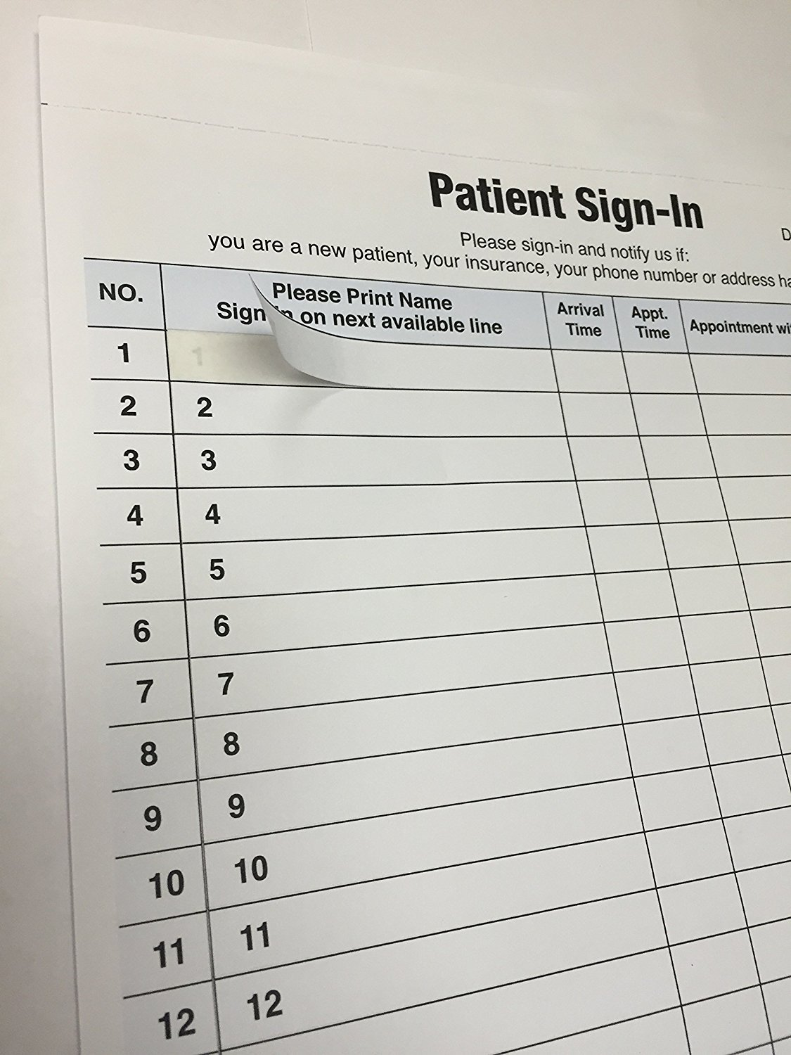 ABC Self Adhesive Patient Sign-In Sheet, 8 1/2'' x 11 5/8'', Icons - 100 Sheets