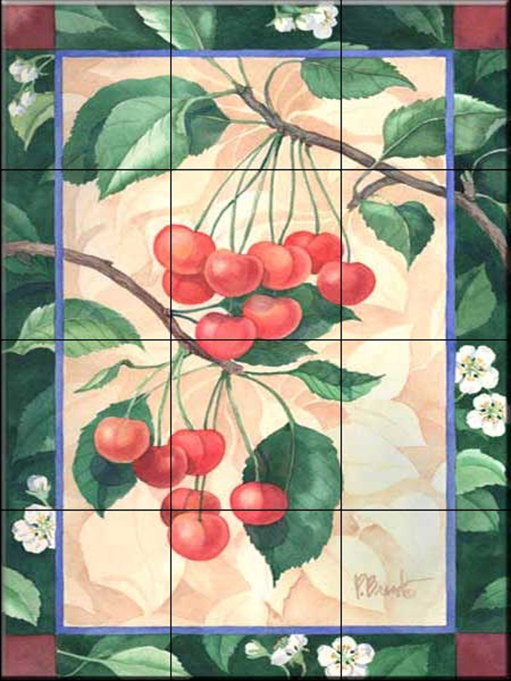 Ceramic Tile Mural - Florence Cherries - Kitchen backsplash / Bathroom shower