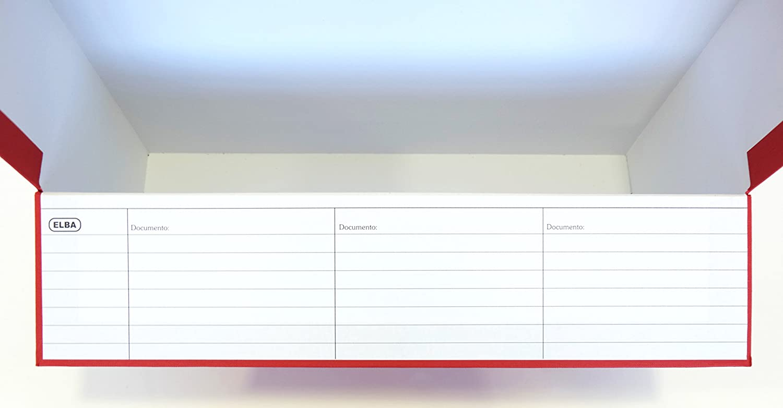 Elba 100580263 - Caja de transferencia de cartón forrado con tela, 10 cm, color rojo: Amazon.es: Oficina y papelería