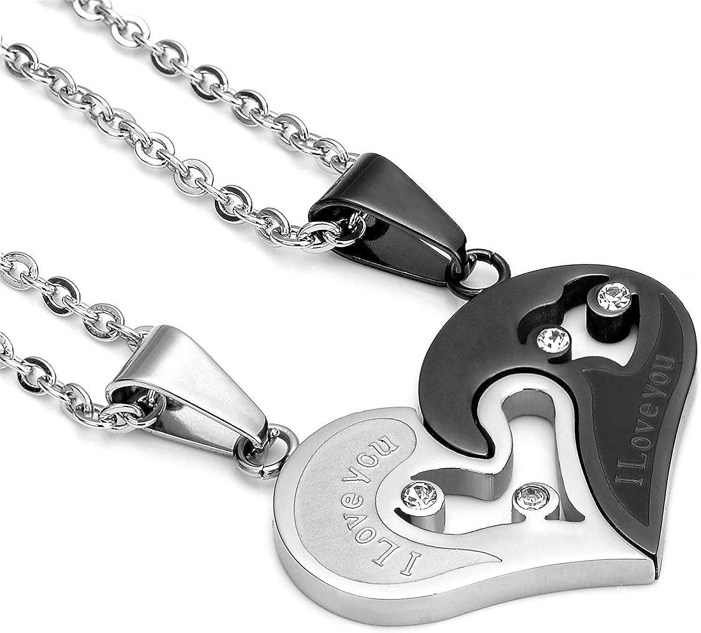 LOLIAS Collar de Coraz/ón para Hombres Mujeres Amantes de la Amistad Cadena de Parejas Circonita Rompecabezas Collar Acero Inoxidable 2PCS Cadena 55 cm
