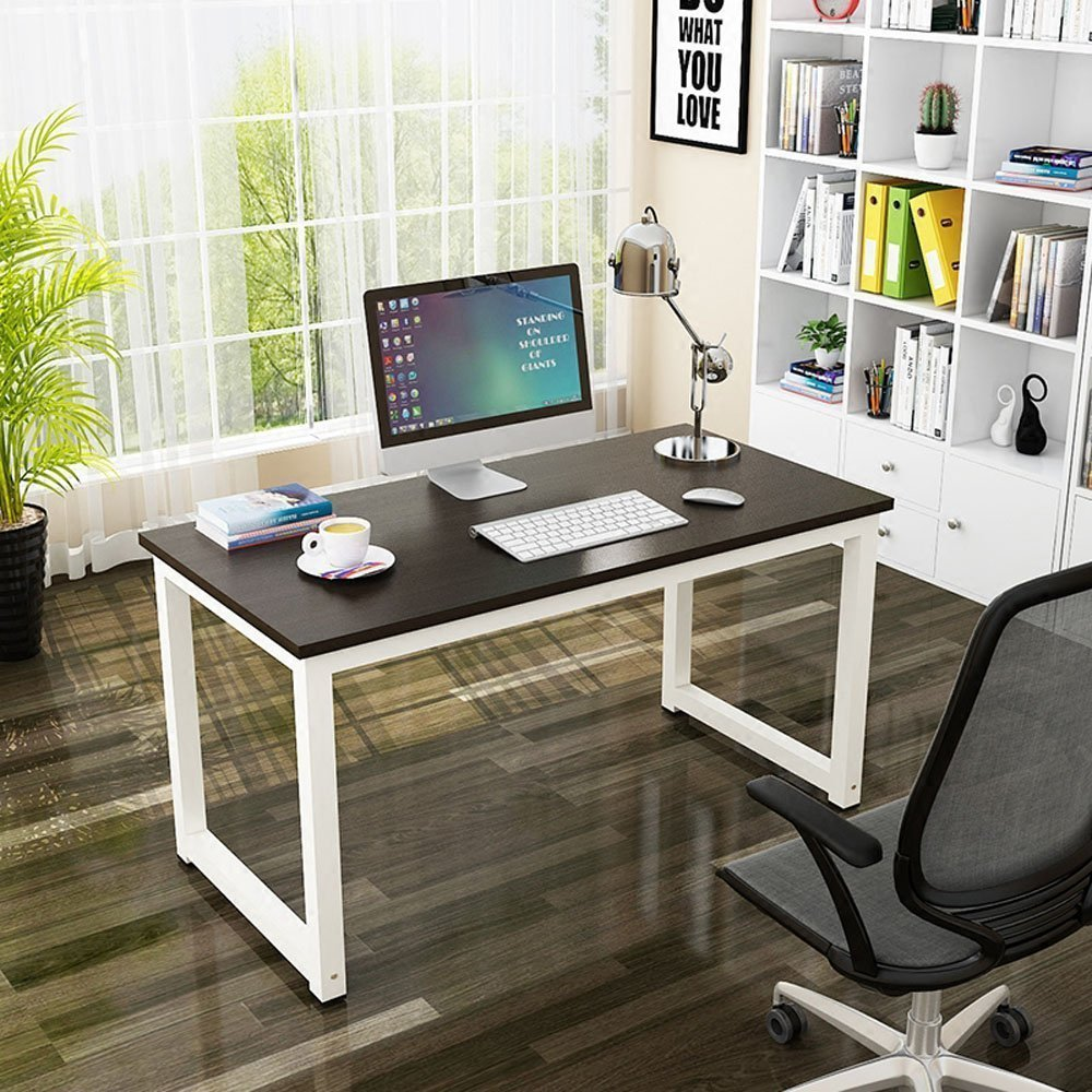 Wood Computer Desk Modern Simple Style 47.2'' Office Desk/PC Laptop Study Table, Multi-purpose Square Desk Writing Workstation for Home & Office Use (Black + White Leg) by Follow Your Heart (Image #7)