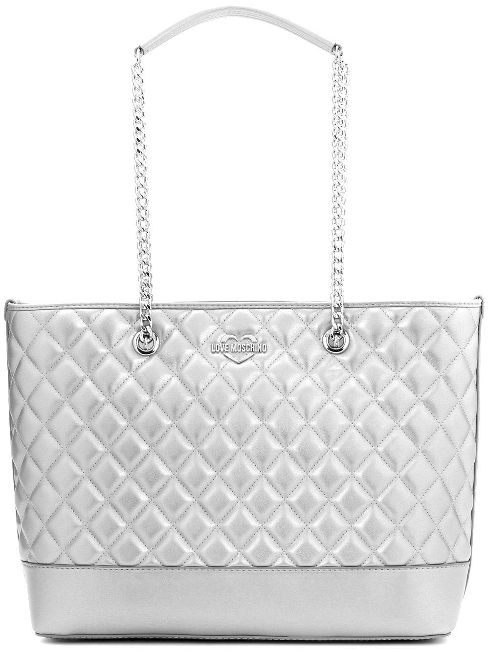 LOVE MOSCHINO Diamond Quilted Logo Shoulder Tote Bag, Silver