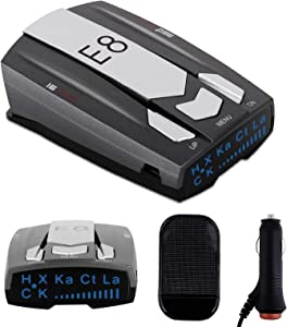 Radar Detector E8 Car Speed Laser Radar Detector with LED Display Voice Alert and Alarm System Radar Detector Kit with 360 Degree Detection(FCC Certification)