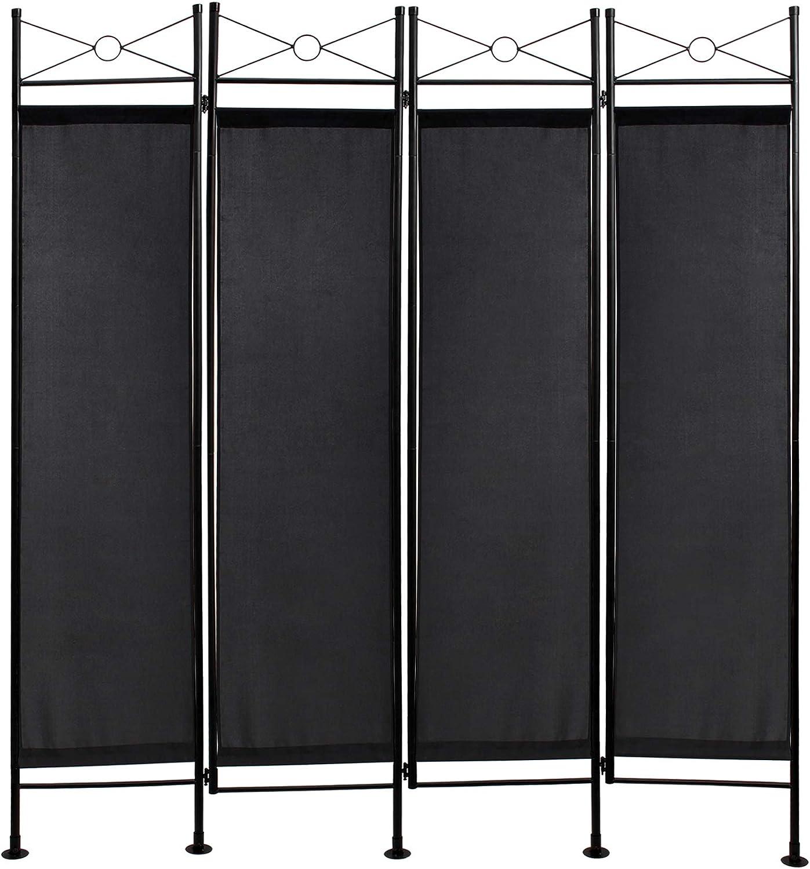 Todeco - Biombo, Divisor de Habitaciones - Panel: 100% Poliéster - Número de paneles: 4 - 180 x 160 cm, Negro