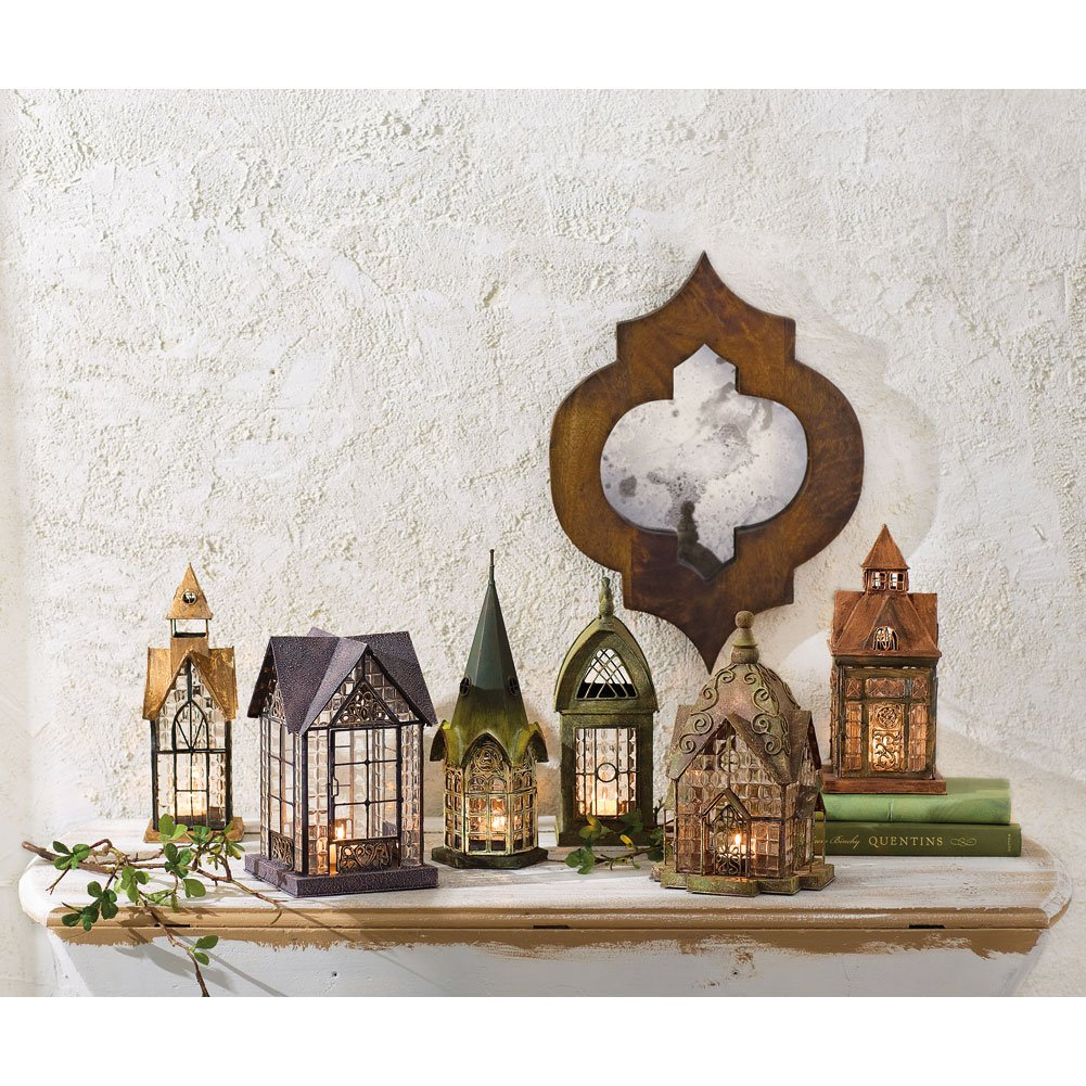 English Architectural House Replica Lantern Tea Light Candle Holders Set of 6 - ChristmasTablescapeDecor.com
