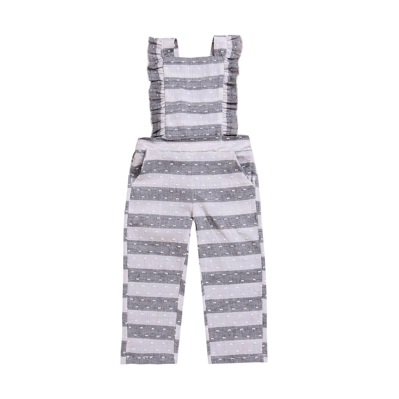 340d35920fb Amazon.com  Kashoer Infant Baby Girl Stripe Ruffles Romper Sleeveless  Backless Long Pant Bodysuit Pocket Overall Sunsuit  Clothing