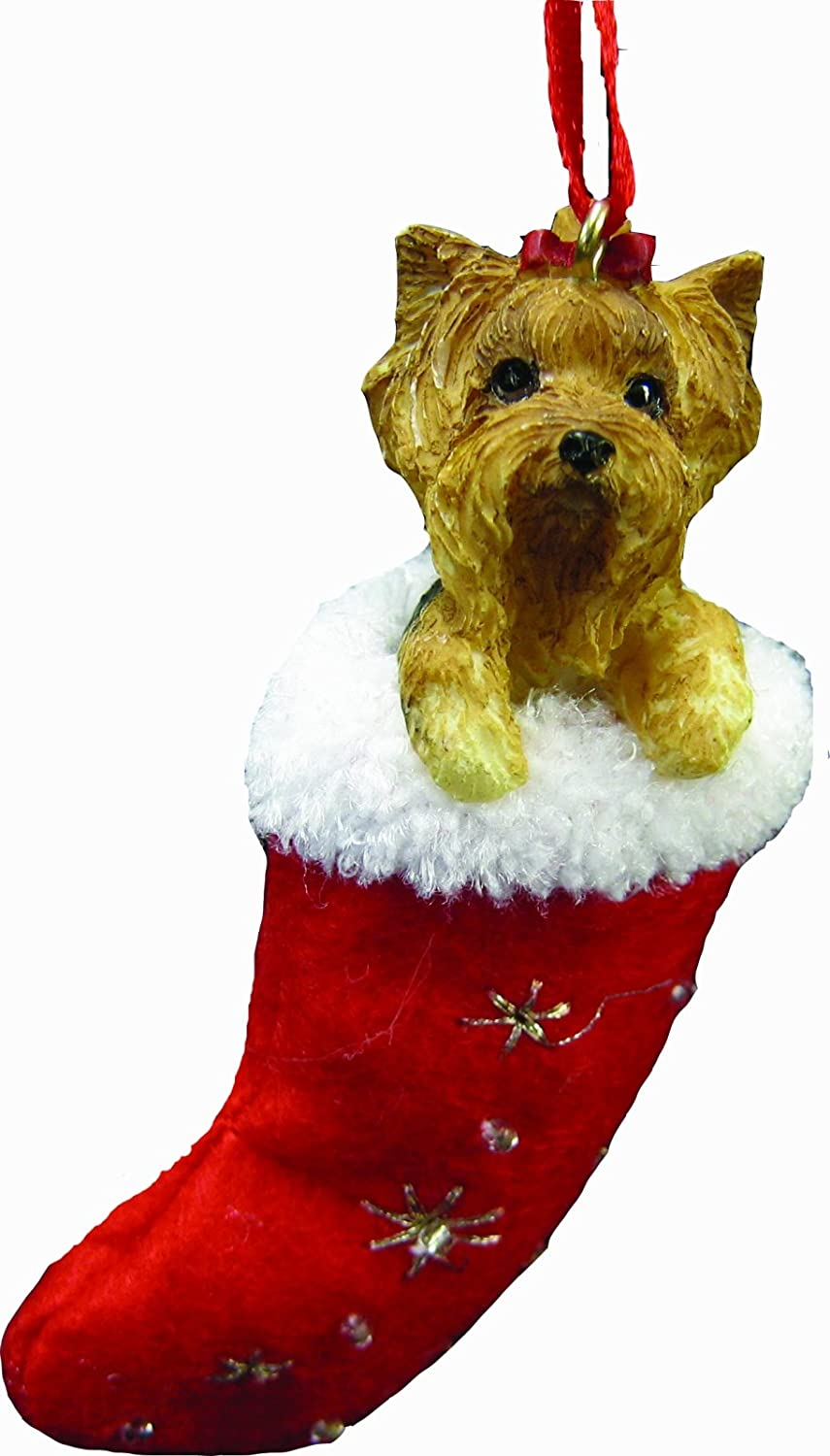 Yorkie Christmas Stocking Ornament, Hand Painted and Stitched Detail E&S Imports Inc ORN221-46