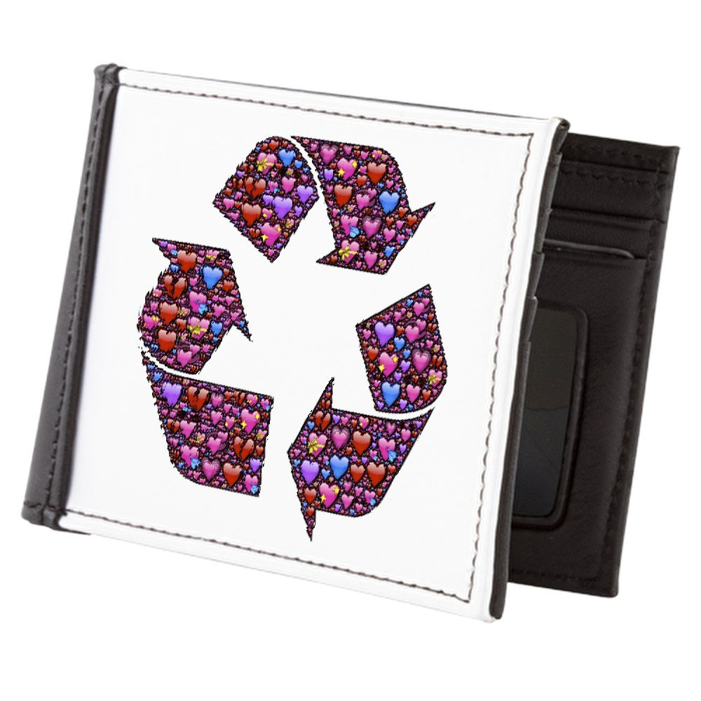 Truly Teague Mens Wallet Billfold I Love to Recycle Symbol with Hearts