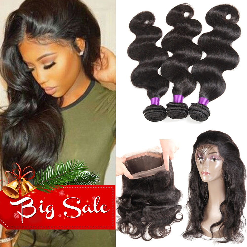 Ossilee Hair 8A Grade 360 Lace Frontal Closure with Bundles Malaysian Body Wave Virgin Hair Bundles with 360 Lace Frontal Unprocessed Human Hair with 360 Frontal(14 16 18+12 360frontal, Natural Color)