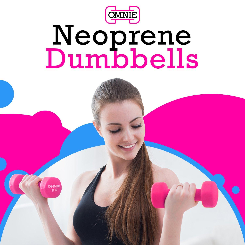 Omnie Dumbbells 5lbs - Blue for Both Men /& Women Set of 2 Comfortable Contoured Grips for Easy Use Neoprene Non Slip Grip Deluxe Body Building//Sculpting Workout ProTEKgr Ideal for General Exercise For Men /& Women