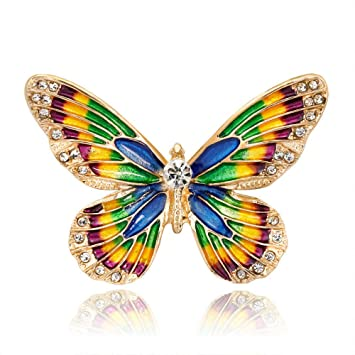 Fashion Crystal Flower Butterfly Brooch Collar Scarf Pin Wedding Party Jewellery