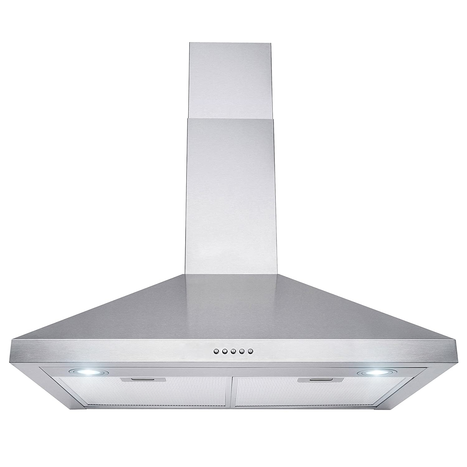 Perfetto Kitchen and Bath 30 Wall Mount Range Hood Brushed Stainless Steel Push Button Control RH0366