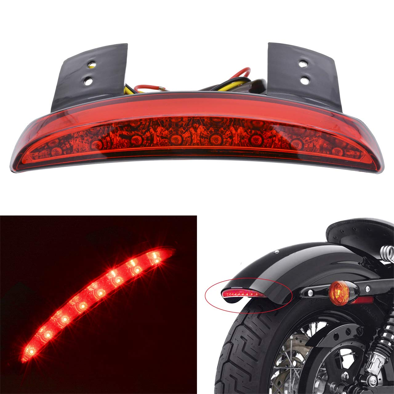 KaTur Red Chopped Fender Edge Motorcycle 8 LED RED Stop Running Brake Rear Tail Light for Harley Sportster XL 883N 1200N XL1200V XL1200X AMMP-820-Red Shell