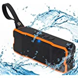 Bluetooth Speakers by Ayoki 60 Days Standby Waterproof Loud Sound Portable Wireless Rechargeable Stereo with Subwoofer Built-in Microphone (Black/Orange)