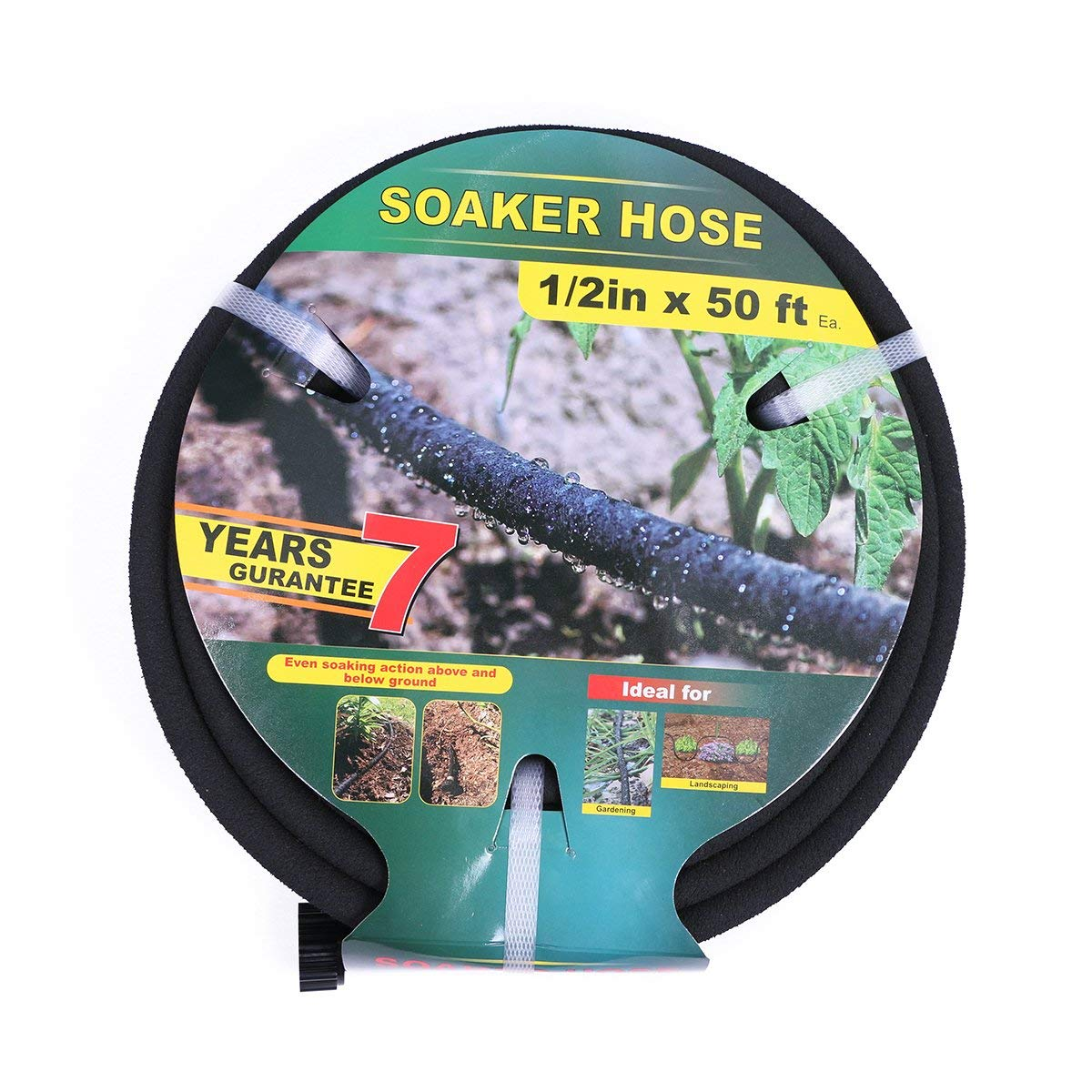 Taisia 1/2 inch Soaker Hose 50ft Lead Free Saves 70% Water Perfect Delivery of Water Great for Garden Flower Bed (1-2-50FT-P)