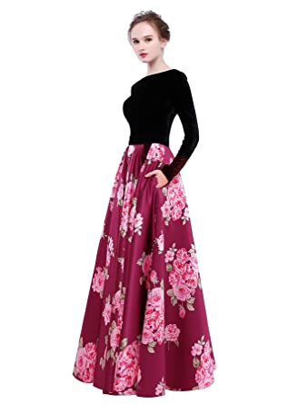 HEIMO Womens Velvet Bodice Evening Party Gowns Floral Printed Formal Prom Dresses Long H266 0 Fuchsia