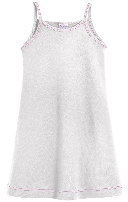 City Threads Big Girls' Summer Dress Cami Camisole Spaghetti Strap Maxi Slip No Sleeve Dress For Sensitive Skin or SPD Sensory Friendly, White w/ Ligh Pink Stitch, 7 by City Threads (Image #1)