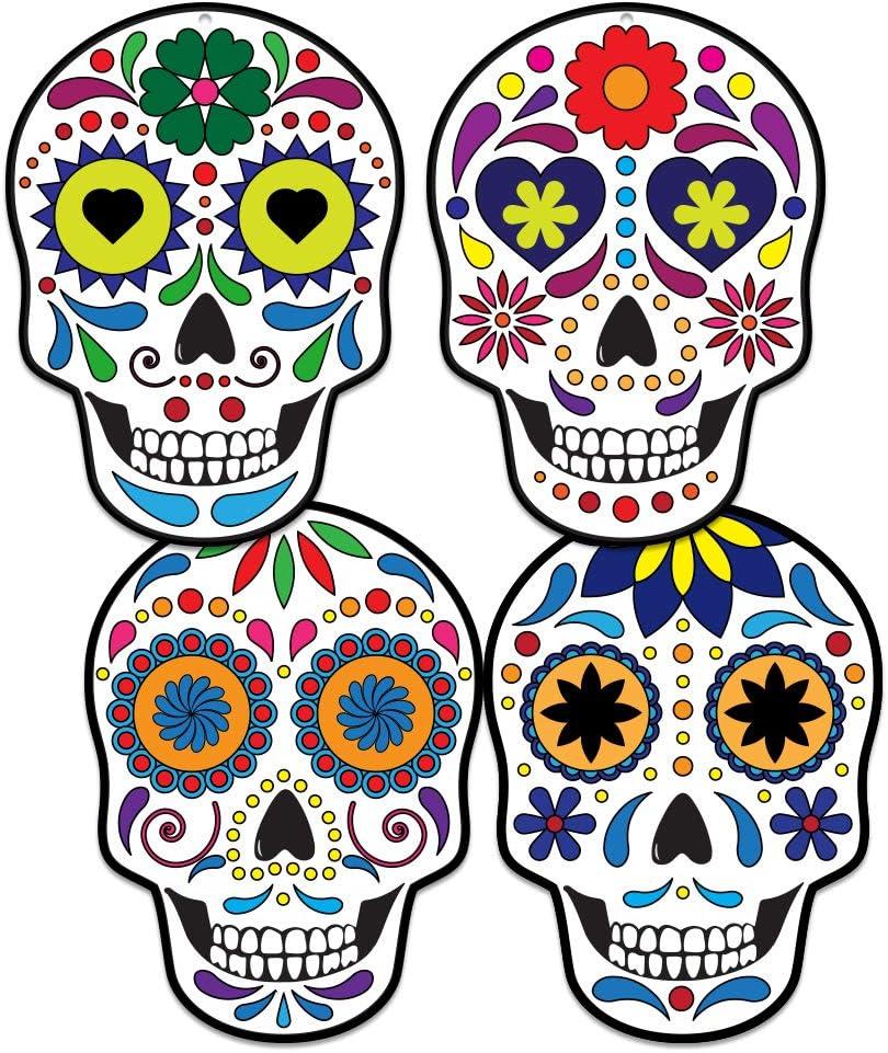 FaCraft Day of Dead Sugar Skulls Decorations,20pcs Dia de Los Muertos Skulls Hanging Wall Sign for Halloween DIY Craft,Party Supplies