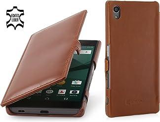 StilGut Book Type Case con Clip, Custodia in Vera Pelle a Libro per Sony Xperia Z5 & Sony Xperia Z5 Dual, Cognac