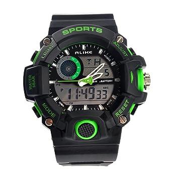Reloj de Pulsera de Cuarzo Digital para Deportes acuáticos Dual Time AK14101 Impermeable con Fecha/