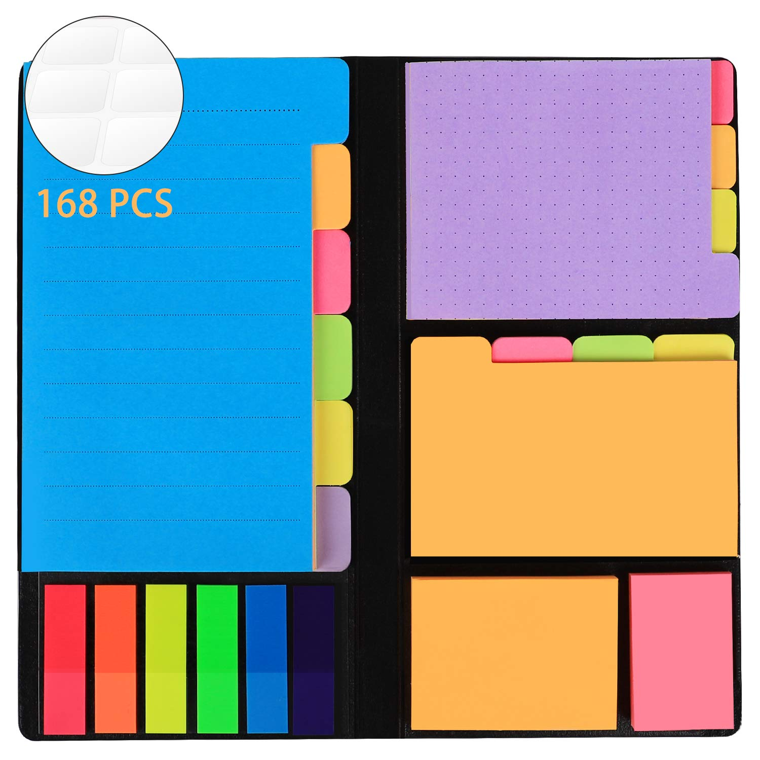 JARLINK 578-in-1 Divider Sticky Notes Set, Super Sticky Page Markers Prioritize with Color Coding, 60 Ruled, 40 Dotted, 40 Blank, 60 Orange and Pink, 150 Index Tabs and 168 Labels by JARLINK