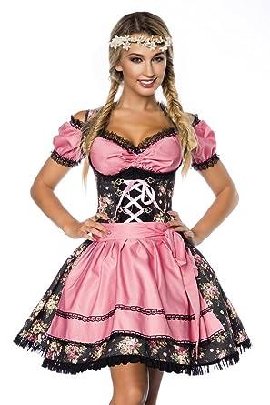Kleid, Sch/ürze /& Bluse Mini-Dirndl Trachtenkleid mit floralem Muster Dirndline 3-TLG in 2 Farben A70001