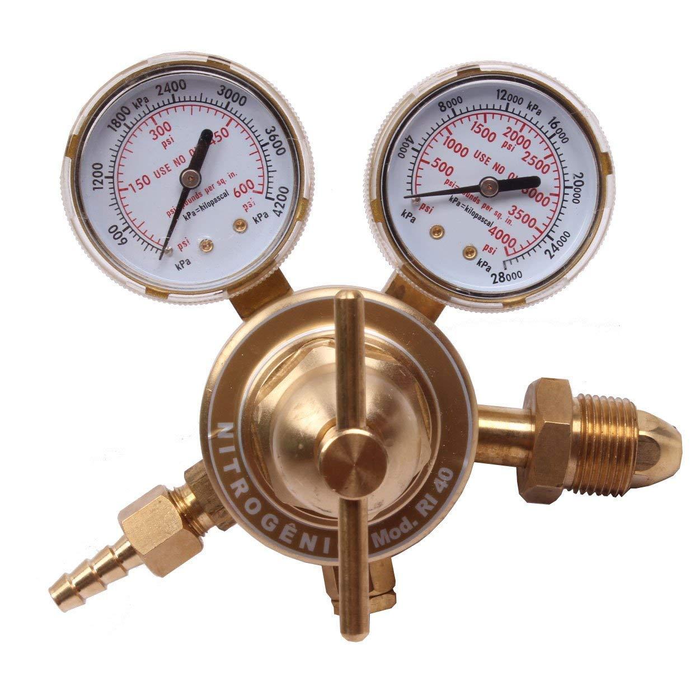 BETOOLL Nitrogen Regulator with 0-400 PSI Delivery Pressure Equipment Brass Inlet Outlet Connection Gauges szbrt