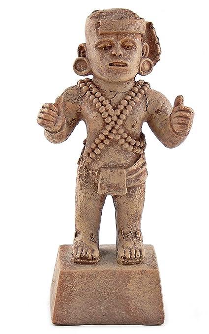 Bellaa 23170 Aztec Warrior Statues Replica Mexican Archaeological Sculpture