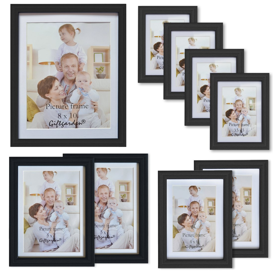Amazon.com: Giftgarden Black Matted Picture Frames Collage Multi ...
