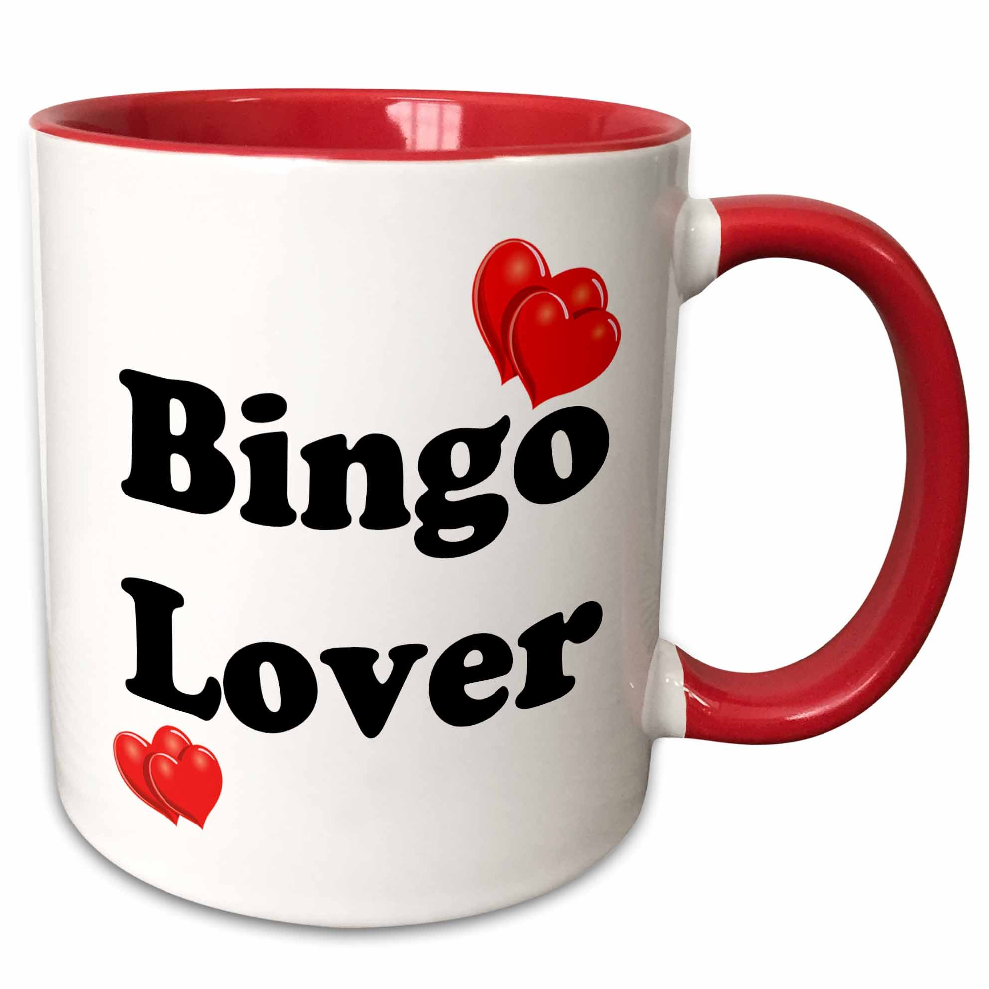 3dRose mug_108315_5 Bingo Lover Ceramic, 11 oz, Red/White by 3dRose