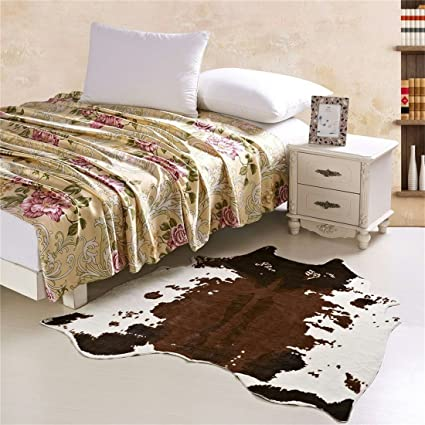 Amazon Com Meng Ge Faux Fur Rug 4 9x4 8 Feet Cow Hide Rug Animal Rh Amazon  Com Cow Bedroom Decor Cow Bedroom Decor