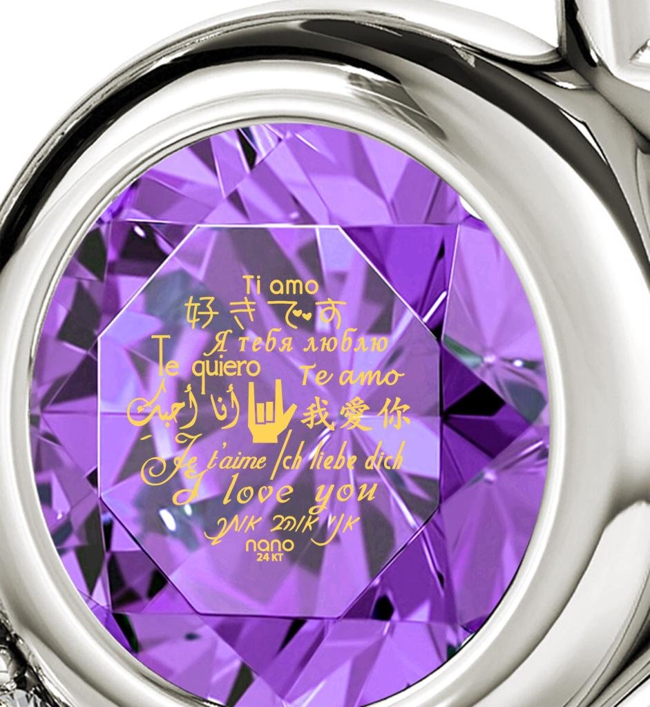 925 Sterling Silver Heart Pendant Necklace I Love You 12 Languages 24k Gold Inscribed Violet Crystal, 18'' by Nano Jewelry (Image #3)