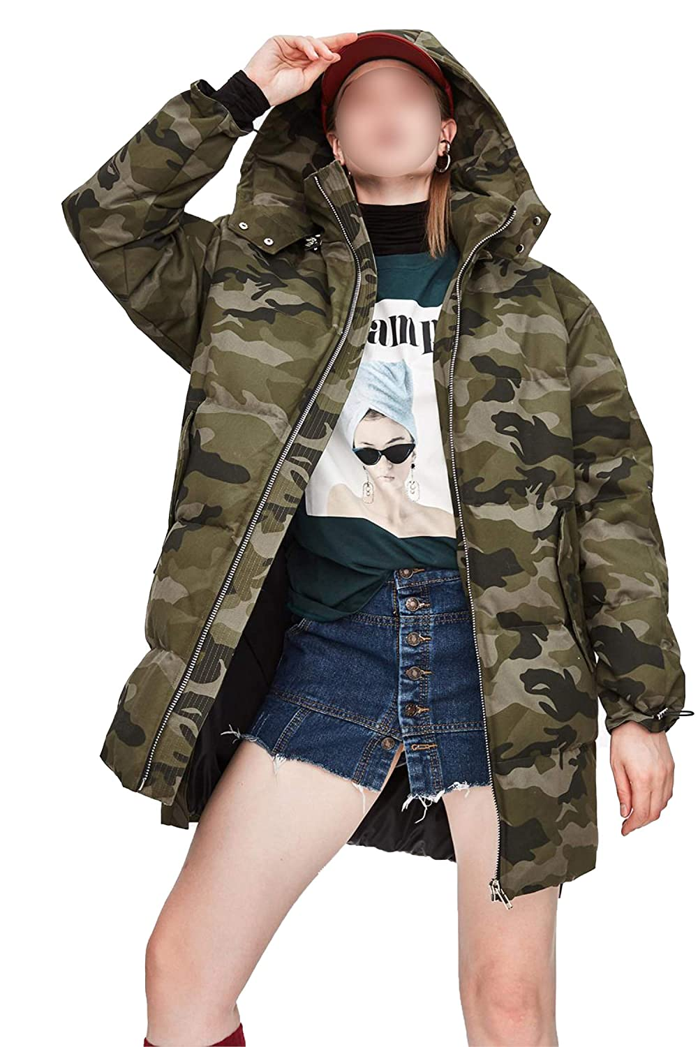 Camouflage long Lucky Shop Winter Fashion Street Woman Casual Camouflage Down Jacket Safari Coat with Hood