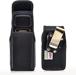 product image for Turtleback Holster Compatible with Samsung Rugby 4, Flip Phone Pouch Case, Magnetic Closure (Black Leather/Rotating Clip) - Made in USA